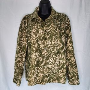 Erika Green Paisley Button Up Long Sleeve Blouse